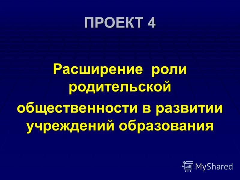ПРОЕКТ 4 Расширение роли родительской общественности в развитии учреждений образования