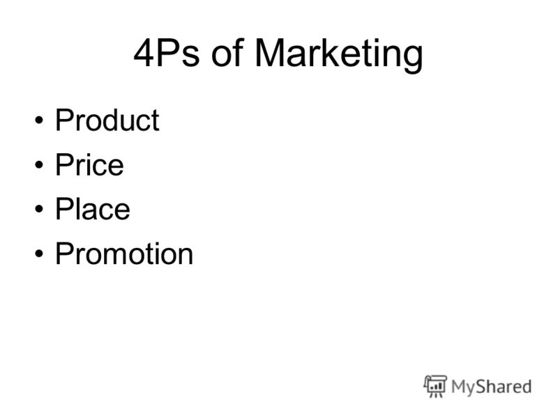 4Ps of Marketing Product Price Place Promotion