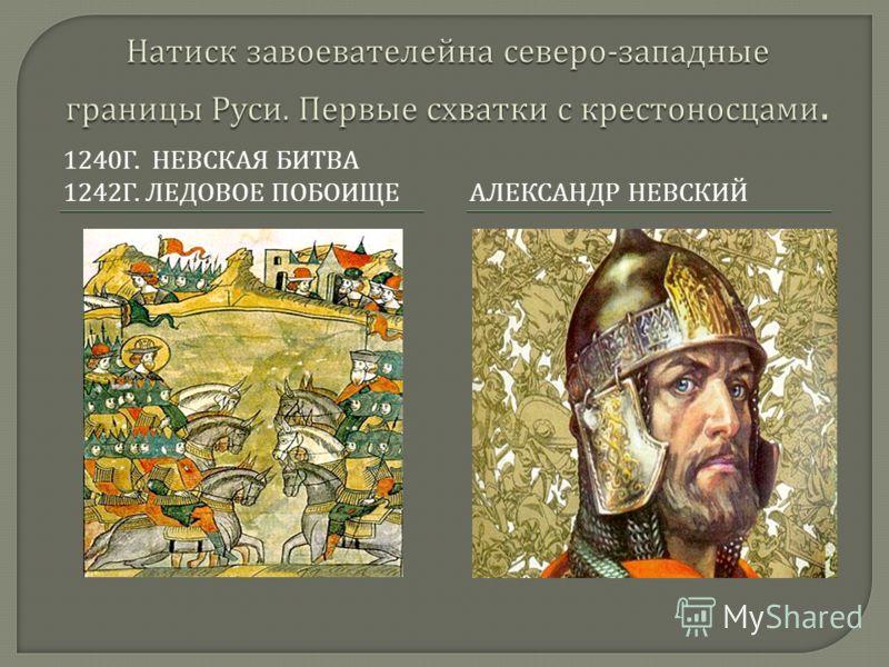 1240 Г. НЕВСКАЯ БИТВА 1242 Г. ЛЕДОВОЕ ПОБОИЩЕАЛЕКСАНДР НЕВСКИЙ