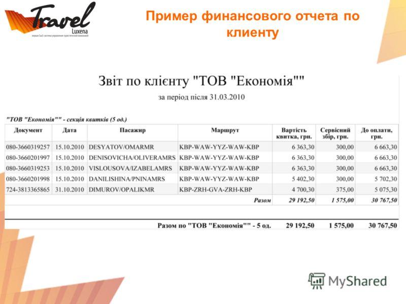 Пример финансового отчета по клиенту