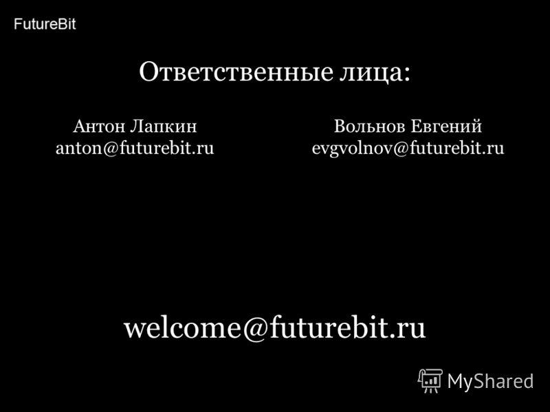 welcome@futurebit.ru Ответственные лица: Антон Лапкин anton@futurebit.ru Вольнов Евгений evgvolnov@futurebit.ru