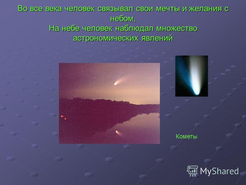 Во все века человек связывал свои мечты и желания с небом, На небе человек наблюдал множество астрономических явлений Кометы
