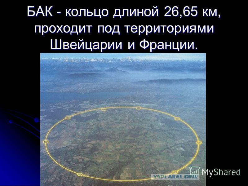 БАК - кольцо длиной 26,65 км, проходит под территориями Швейцарии и Франции.