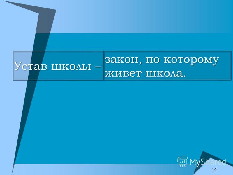 Устав школы – закон, по которому живет школа. 16