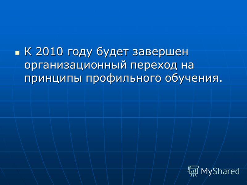К 2010 году будет завершен организационный переход на принципы профильного обучения. К 2010 году будет завершен организационный переход на принципы профильного обучения.