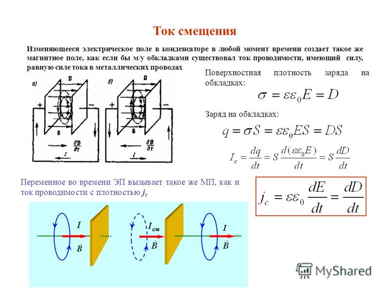 Поверхностная плотность заряда на обкладках: Заряд на обкладках: Изменяющееся электрическое поле в конденсаторе в любой момент времени создает такое же магнитное поле, как если бы м/у обкладками существовал ток проводимости, имеющий силу, равную силе