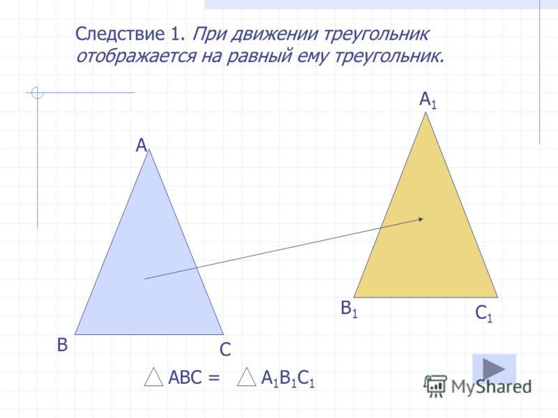 Теорема. При движении отрезок отображается на отрезок. С D C1C1 D1D1 CD=C 1 D 1