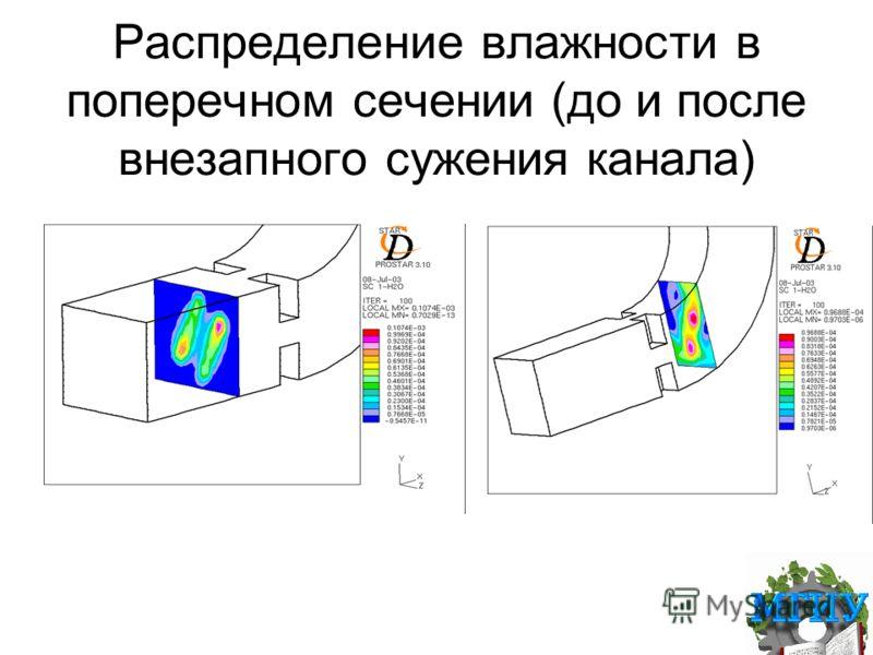 Распределение влажности в поперечном сечении (до и после внезапного сужения канала)