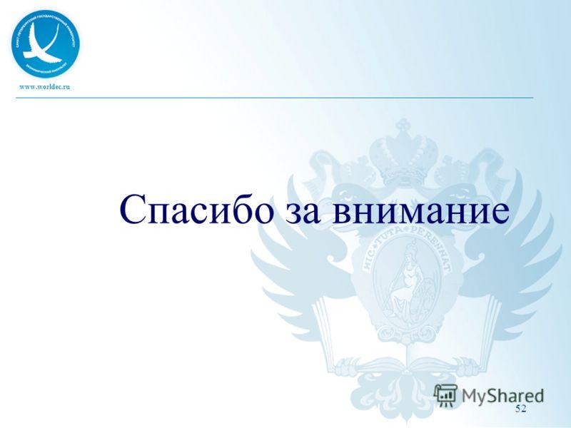 www.worldec.ru Спасибо за внимание 52