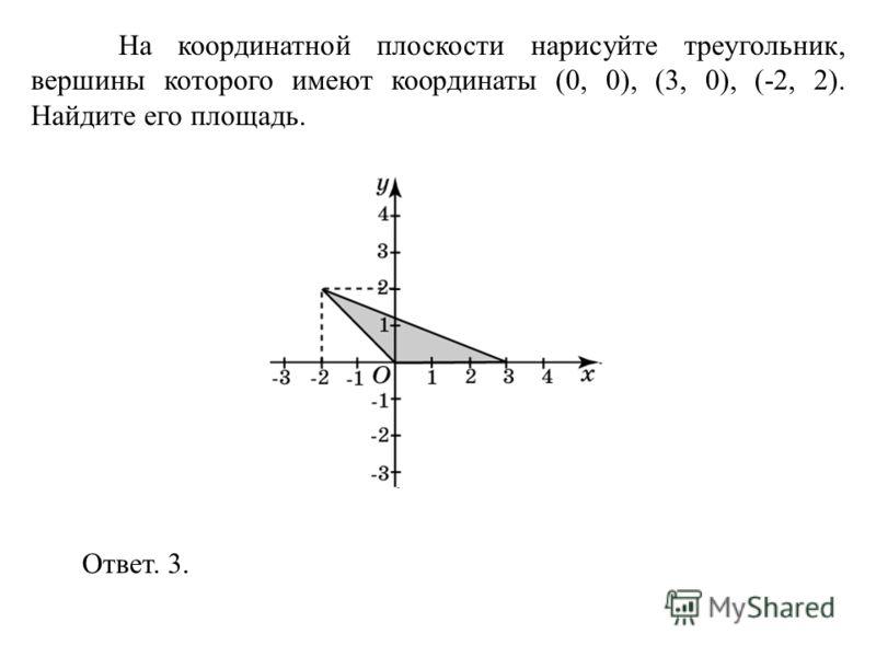 На координатной плоскости нарисуйте треугольник, вершины которого имеют координаты (0, 0), (3, 0), (-2, 2). Найдите его площадь. Ответ. 3.