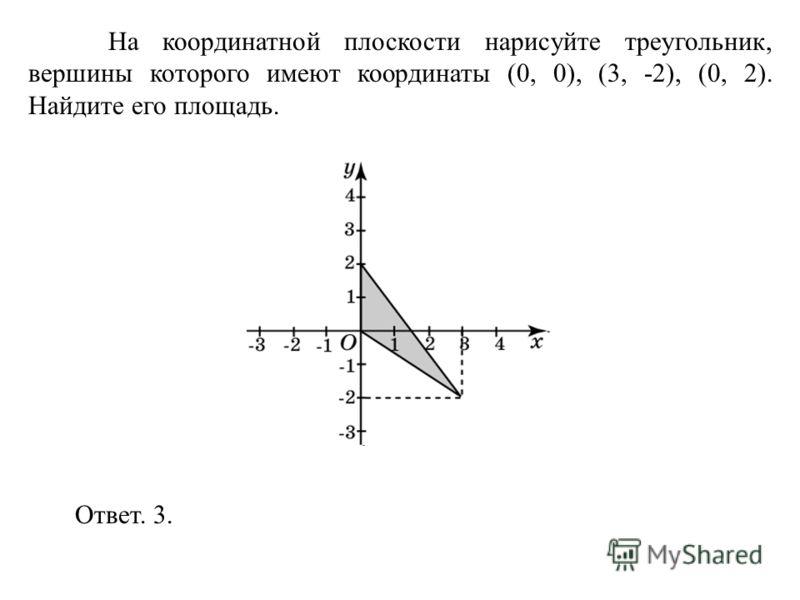На координатной плоскости нарисуйте треугольник, вершины которого имеют координаты (0, 0), (3, -2), (0, 2). Найдите его площадь. Ответ. 3.