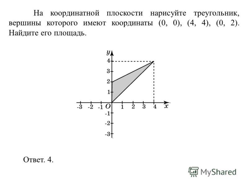 На координатной плоскости нарисуйте треугольник, вершины которого имеют координаты (0, 0), (4, 4), (0, 2). Найдите его площадь. Ответ. 4.