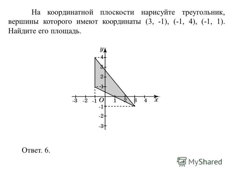 На координатной плоскости нарисуйте треугольник, вершины которого имеют координаты (3, -1), (-1, 4), (-1, 1). Найдите его площадь. Ответ. 6.