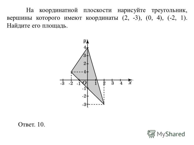 На координатной плоскости нарисуйте треугольник, вершины которого имеют координаты (2, -3), (0, 4), (-2, 1). Найдите его площадь. Ответ. 10.