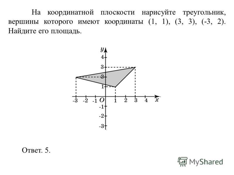 На координатной плоскости нарисуйте треугольник, вершины которого имеют координаты (1, 1), (3, 3), (-3, 2). Найдите его площадь. Ответ. 5.
