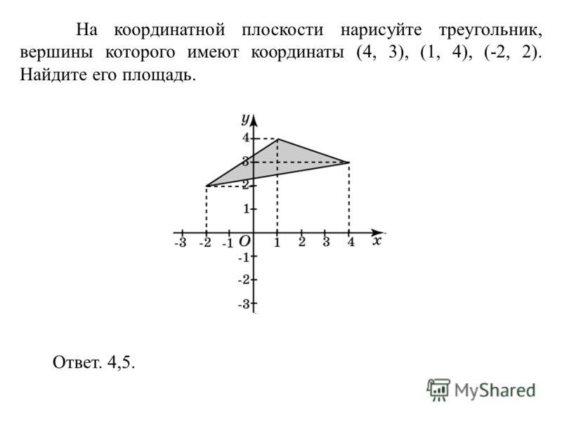 На координатной плоскости нарисуйте треугольник, вершины которого имеют координаты (4, 3), (1, 4), (-2, 2). Найдите его площадь. Ответ. 4,5.