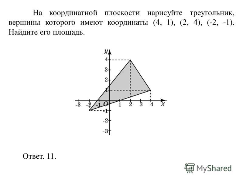 На координатной плоскости нарисуйте треугольник, вершины которого имеют координаты (4, 1), (2, 4), (-2, -1). Найдите его площадь. Ответ. 11.