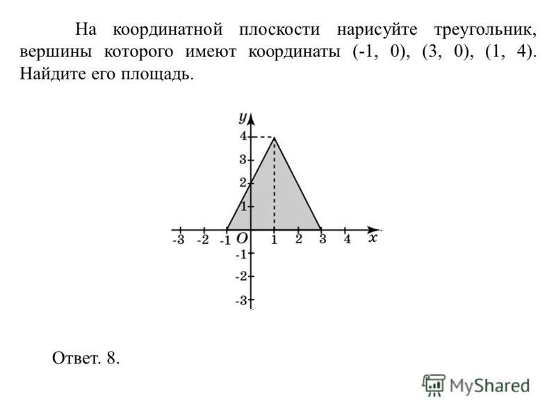 На координатной плоскости нарисуйте треугольник, вершины которого имеют координаты (-1, 0), (3, 0), (1, 4). Найдите его площадь. Ответ. 8.