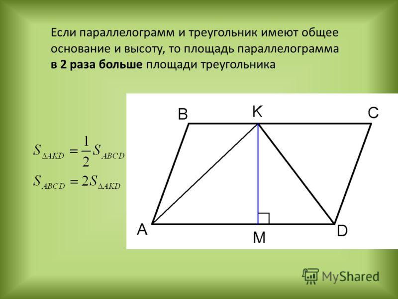Если параллелограмм и треугольник имеют общее основание и высоту, то площадь параллелограмма в 2 раза больше площади треугольника