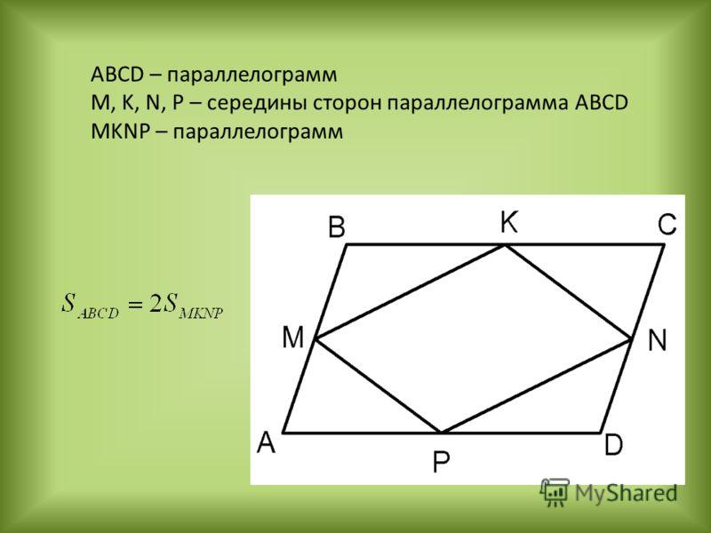 ABCD – параллелограмм M, K, N, P – середины сторон параллелограмма АВСD MKNP – параллелограмм