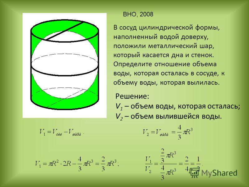 В сосуд цилиндрической формы, наполненный водой доверху, положили металлический шар, который касается дна и стенок. Определите отношение объема воды, которая осталась в сосуде, к объему воды, которая вылилась. Решение: V 1 – объем воды, которая остал