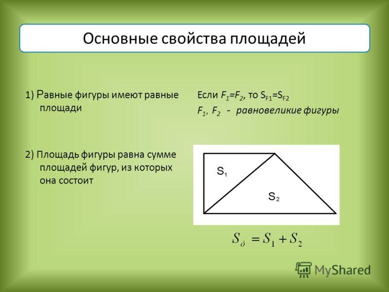 Основные свойства площадей 1) Р авные фигуры имеют равные площади 2) Площадь фигуры равна сумме площадей фигур, из которых она состоит Если F 1 =F 2, то S F1 =S F2 F 1, F 2 - равновеликие фигуры