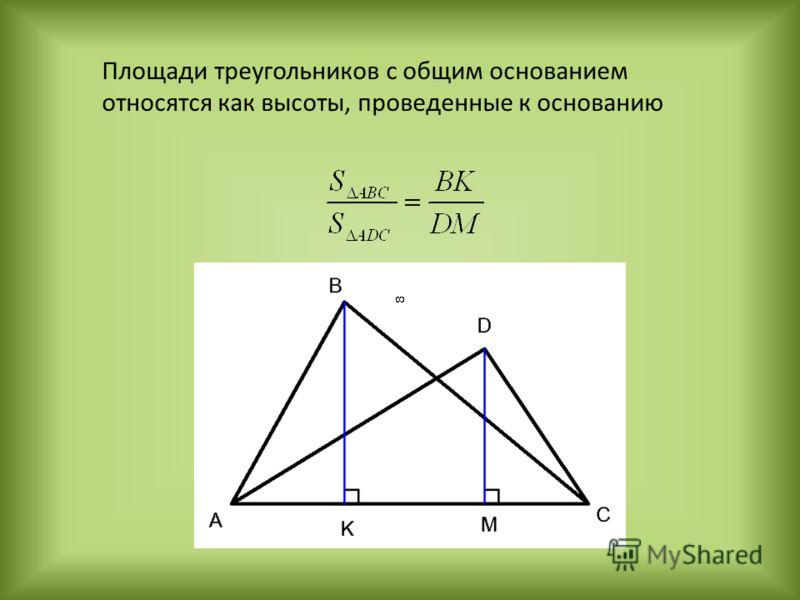Площади треугольников с общим основанием относятся как высоты, проведенные к основанию