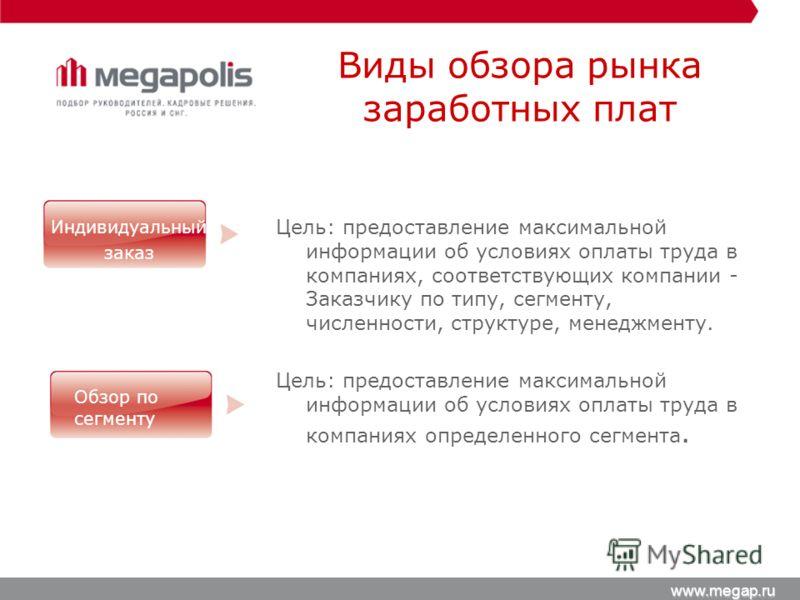 www.megap.ru Цель: предоставление максимальной информации об условиях оплаты труда в компаниях, соответствующих компании - Заказчику по типу, сегменту, численности, структуре, менеджменту. Цель: предоставление максимальной информации об условиях опла