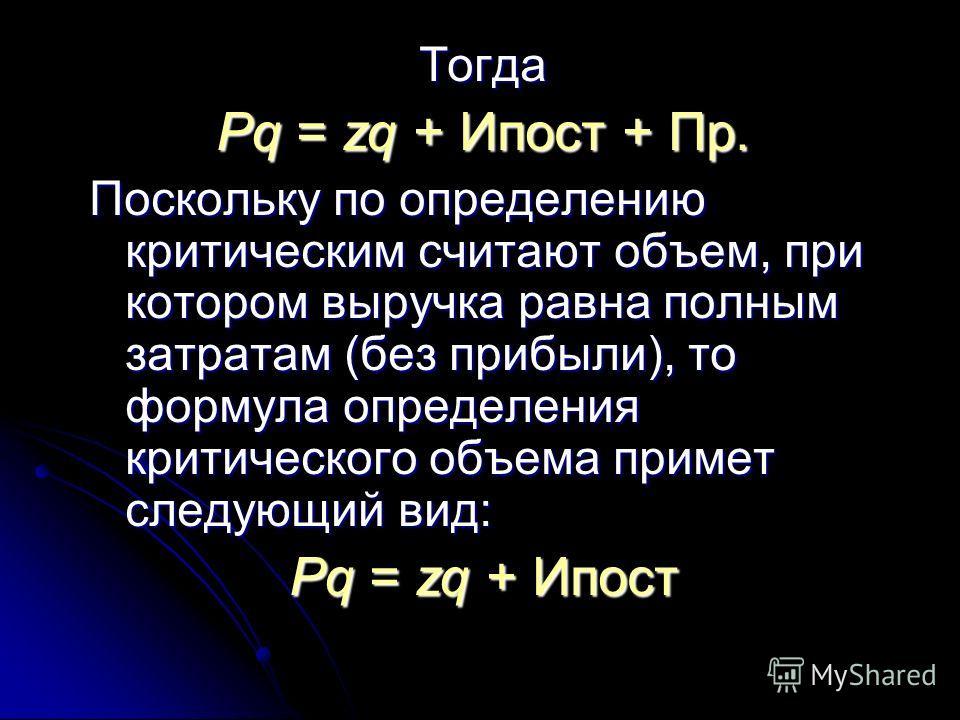 Поскольку переменные расходы Иперемен по самому принципу их определения находятся в непосредственной зависимости от объема реализации, можно записать,что Иперемен = zq, где z – себестоимость единицы продукции