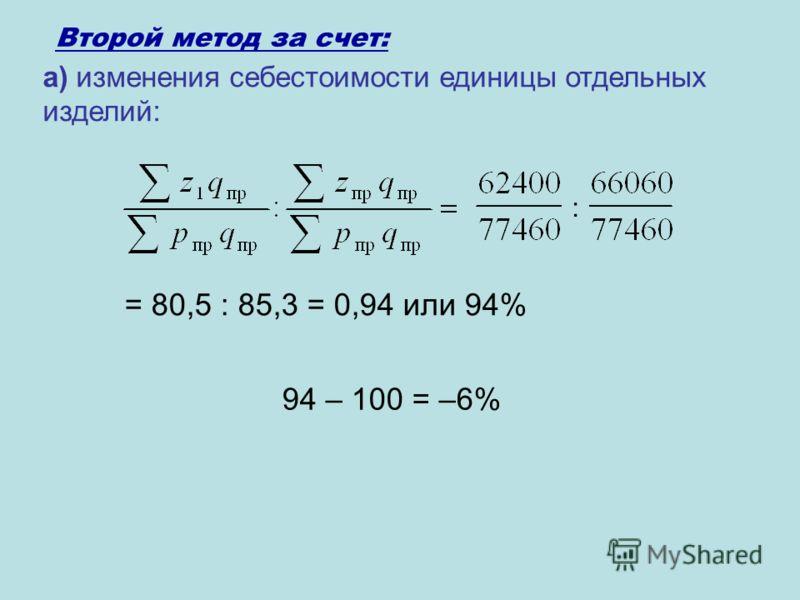 Второй метод за счет: а) изменения себестоимости единицы отдельных изделий: : = 80,5 : 85,3 = 0,94 или 94% 94 – 100 = –6%