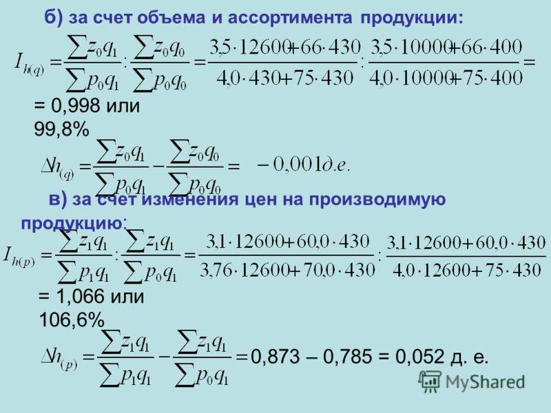 б) за счет объема и ассортимента продукции: = 0,998 или 99,8% в) за счет изменения цен на производимую продукцию : = 1,066 или 106,6% 0,873 – 0,785 = 0,052 д. е.