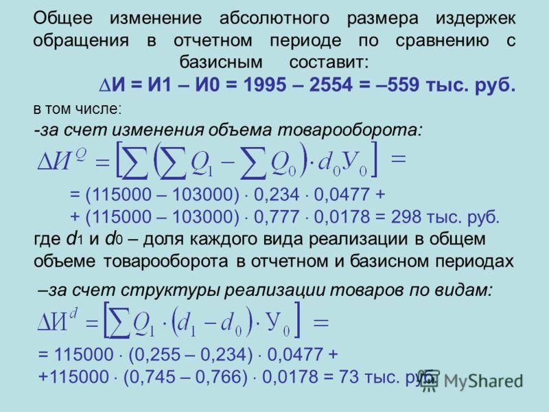 Общее изменение абсолютного размера издержек обращения в отчетном периоде по сравнению с базиснымсоставит: И = И1 – И0 = 1995 – 2554 = –559 тыс. руб. в том числе: -за счет изменения объема товарооборота: = (115000 – 103000) 0,234 0,0477 + + (115000 –