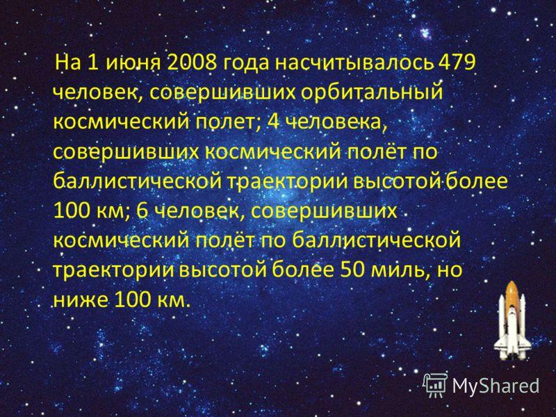 На 1 июня 2008 года насчитывалось 479 человек, совершивших орбитальный космический полет; 4 человека, совершивших космический полёт по баллистической траектории высотой более 100 км; 6 человек, совершивших космический полёт по баллистической траектор