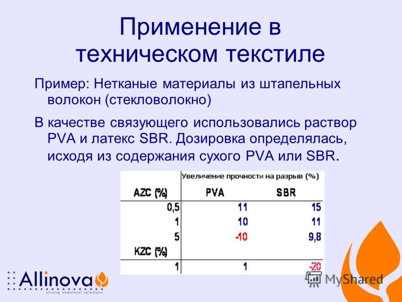 Применение в техническом текстиле Пример: Нетканые материалы из штапельных волокон (стекловолокно) В качестве связующего использовались раствор PVA и латекс SBR. Дозировка определялась, исходя из содержания сухого PVA или SBR.