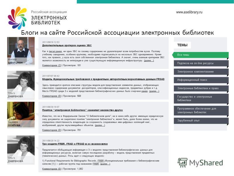 Блоги на сайте Российской ассоциации электронных библиотек