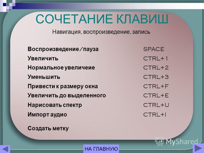 СОЧЕТАНИЕ КЛАВИШ Воспроизведение / пауза SPACE Увеличить CTRL+1 Нормальное увеличеие CTRL+2 Уменьшить CTRL+3 Привести к размеру окна CTRL+F Увеличить до выделенного CTRL+E Нарисовать спектр CTRL+U Импорт аудио CTRL+I Создать метку Навигация, воспроиз