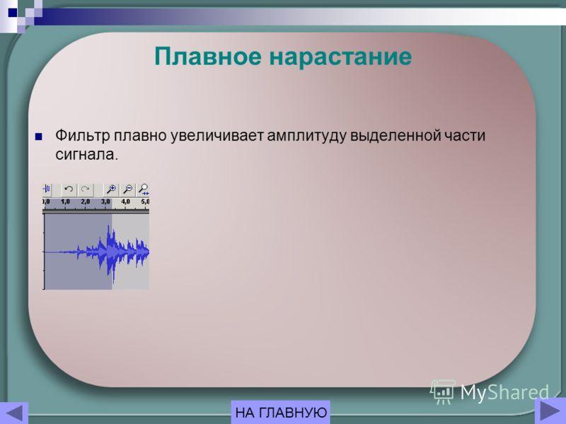 Плавное нарастание Фильтр плавно увеличивает амплитуду выделенной части сигнала. НА ГЛАВНУЮ