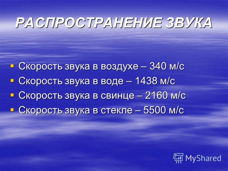 РАСПРОСТРАНЕНИЕ ЗВУКА Скорость звука в воздухе – 340 м/с Скорость звука в воздухе – 340 м/с Скорость звука в воде – 1438 м/с Скорость звука в воде – 1438 м/с Скорость звука в свинце – 2160 м/с Скорость звука в свинце – 2160 м/с Скорость звука в стекл