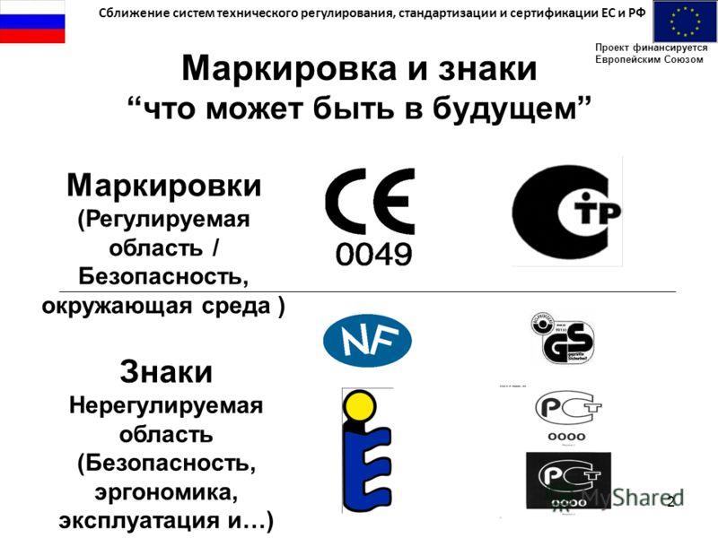 Сближение систем технического регулирования, стандартизации и сертификации ЕС и РФ Проект финансируется Европейским Союзом 2 Маркировка и знакичто может быть в будущем Маркировки (Регулируемая область / Безопасность, окружающая среда ) Знаки Нерегули