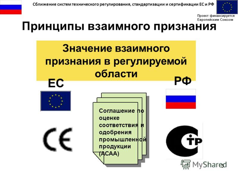 Сближение систем технического регулирования, стандартизации и сертификации ЕС и РФ Проект финансируется Европейским Союзом 3 Принципы взаимного признания Значение взаимного признания в регулируемой области ЕС РФ Соглашение по оценке соответствия и од