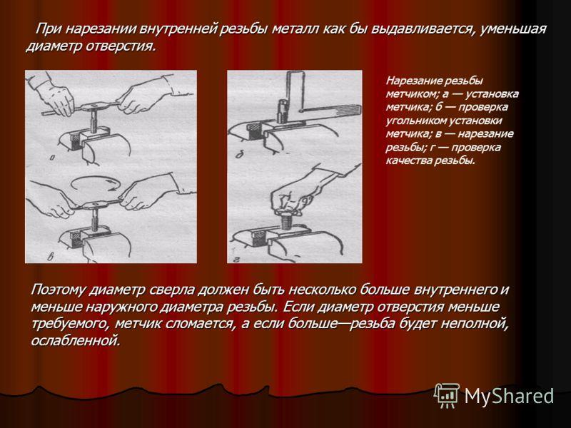 НАРЕЗАНИЕ ВНУТРЕННЕЙ РЕЗЬБЫ Внутреннюю резьбу (резьбу в отверстии) нарезают метчиком. Он состоит из хвостовика и рабочей части. Хвостовиком метчик крепится в воротке или патроне станка. Рабочая часть метчика представляет собой винт с продольными или