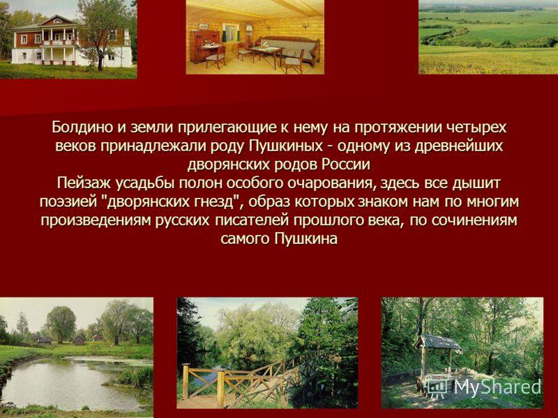 Болдино и земли прилегающие к нему на протяжении четырех веков принадлежали роду Пушкиных - одному из древнейших дворянских родов России Пейзаж усадьбы полон особого очарования, здесь все дышит поэзией