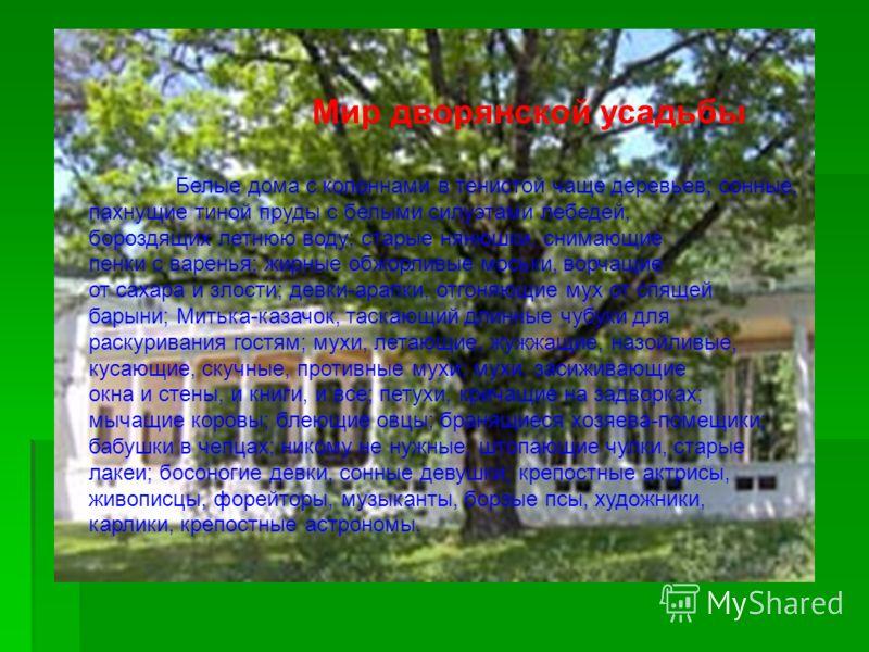 Мир дворянской усадьбы Белые дома с колоннами в тенистой чаще деревьев; сонные, пахнущие тиной пруды с белыми силуэтами лебедей, бороздящих летнюю воду; старые нянюшки, снимающие пенки с варенья; жирные обжорливые моськи, ворчащие от сахара и злости;