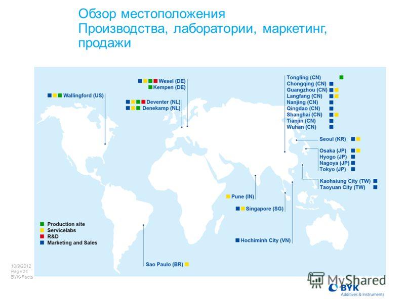 7/22/2012 Page 24 BYK-Facts Обзор местоположения Производства, лаборатории, маркетинг, продажи