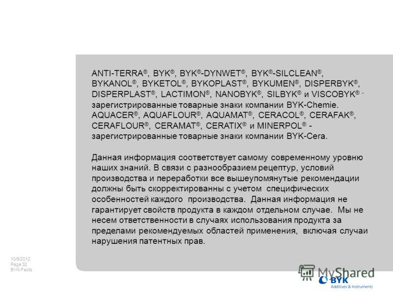 8/8/2012 Page 32 BYK-Facts ANTI-TERRA ®, BYK ®, BYK ® -DYNWET ®, BYK ® -SILCLEAN ®, BYKANOL ®, BYKETOL ®, BYKOPLAST ®, BYKUMEN ®, DISPERBYK ®, DISPERPLAST ®, LACTIMON ®, NANOBYK ®, SILBYK ® и VISCOBYK ® - зарегистрированные товарные знаки компании BY