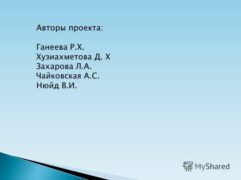 Авторы проекта: Ганеева Р.Х. Хузиахметова Д. Х Захарова Л.А. Чайковская А.С. Нюйд В.И.