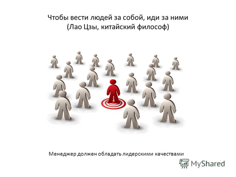 Чтобы вести людей за собой, иди за ними (Лао Цзы, китайский философ) Менеджер должен обладать лидерскими качествами
