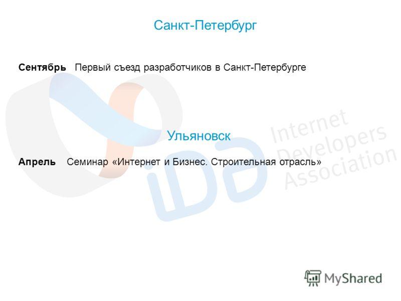 Сентябрь Первый съезд разработчиков в Санкт-Петербурге Санкт-Петербург Апрель Семинар «Интернет и Бизнес. Строительная отрасль» Ульяновск