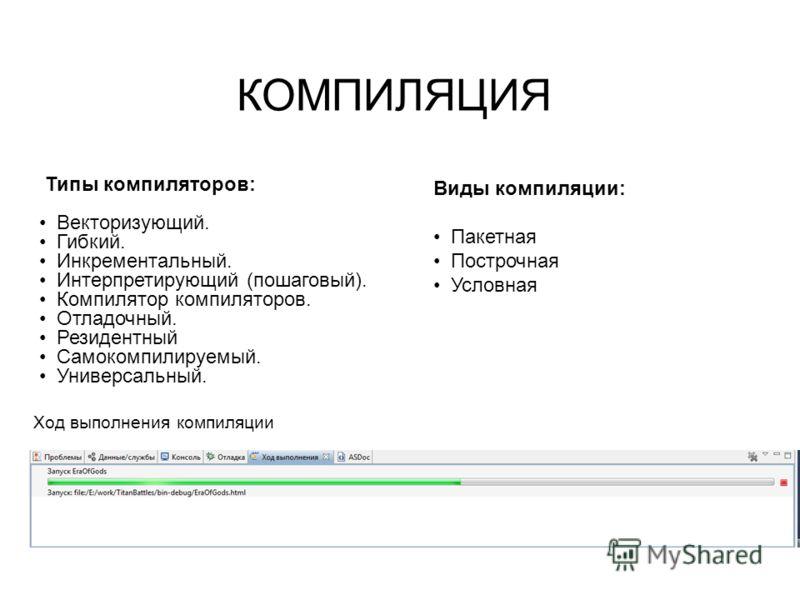 Ход выполнения компиляции Типы компиляторов: Векторизующий. Гибкий. Инкрементальный. Интерпретирующий (пошаговый). Компилятор компиляторов. Отладочный. Резидентный Самокомпилируемый. Универсальный. КОМПИЛЯЦИЯ Виды компиляции: Пакетная Построчная Усло