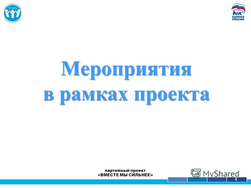 1 4 партийный проект «ВМЕСТЕ МЫ СИЛЬНЕЕ» Мероприятия в рамках проекта